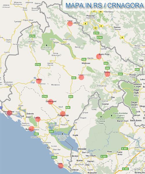bar crna gora mapa Crna gora map bar crna gora mapa