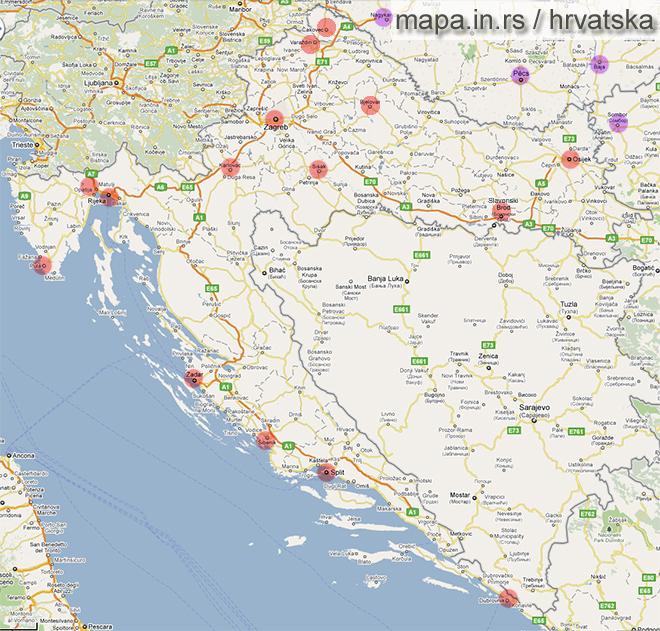 mapa srbije i hrvatske Mapa Hrvatske i karta Hrvatskih gradova mapa srbije i hrvatske